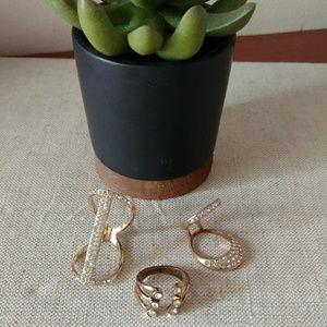 Jewelry - Gold Bling ring trio